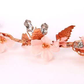 Rose Gold Metallic Flower Crown Tie Headwrap - Pink,