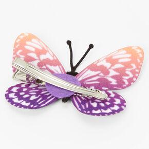 Barrette avec papillon au dégradé violet et orange,