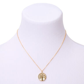 Gold Marble Tree Pendant Necklace,