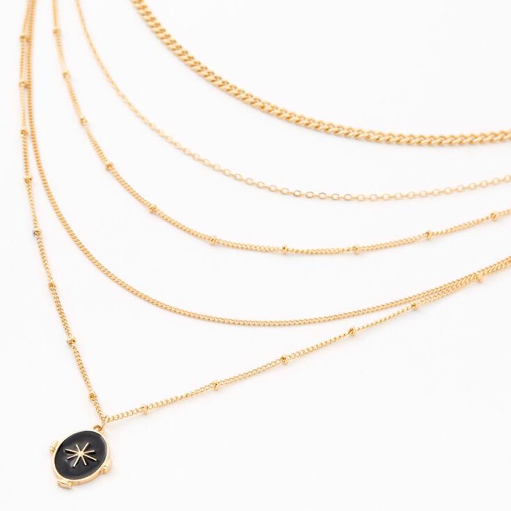 Collier multi-rangs étoiles éclatées couleur dorée,