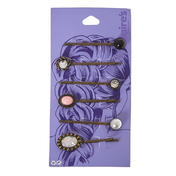 Antique Gold Mixed Stone Hair Pins - 6 Pack,