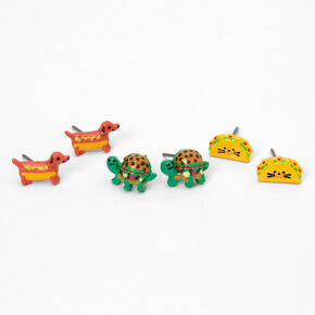 Animal Junk Food Stud Earrings - 3 Pack,