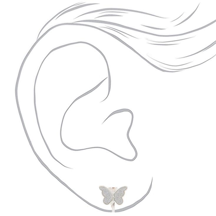 Silver Butterfly Clip On Stud Earrings,