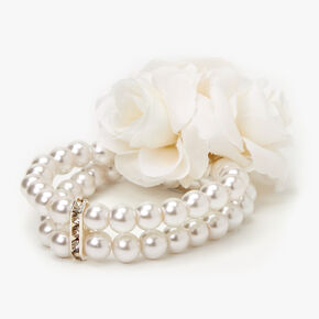 Pearl & Rose Stretch Bracelet Corsage - White,