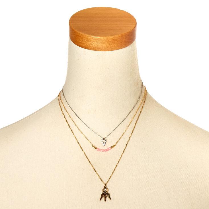 Mixed Metal Boho Multi Strand Necklace,