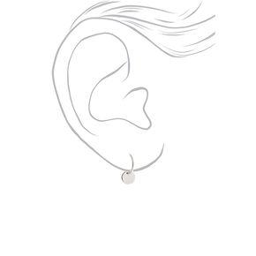 Silver 12MM Disc Hoop Earrings,