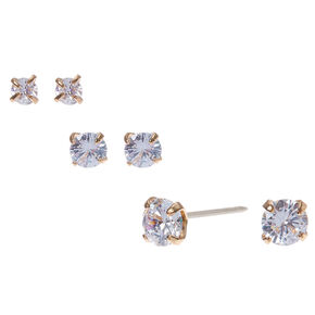 Gold Cubic Zirconia Round Stud Earrings - 3MM, 4MM, 5MM,