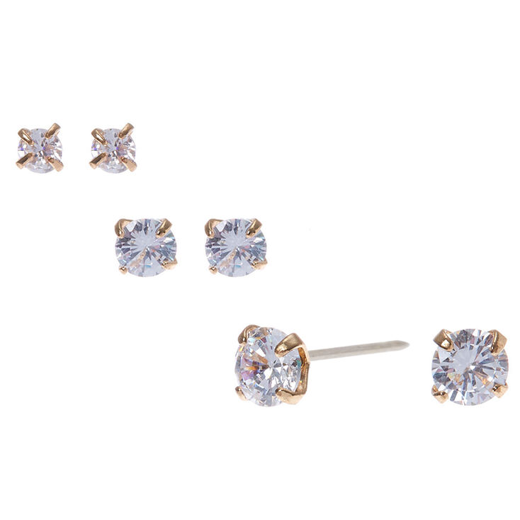 Gold Framed Round Graduated Cubic Zirconia Stud Earrings - 3 Pack,