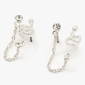 Silver Snake Connector Chain Stud Earrings,