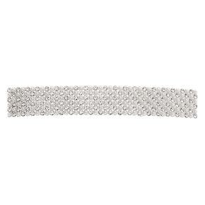 Silver Rhinestone & Pearl Rectangle Hair Barrette,