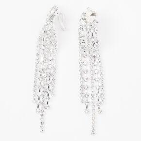"""Silver 3.5"""" Linear Rhinestone Clip On Drop Earrings,"""