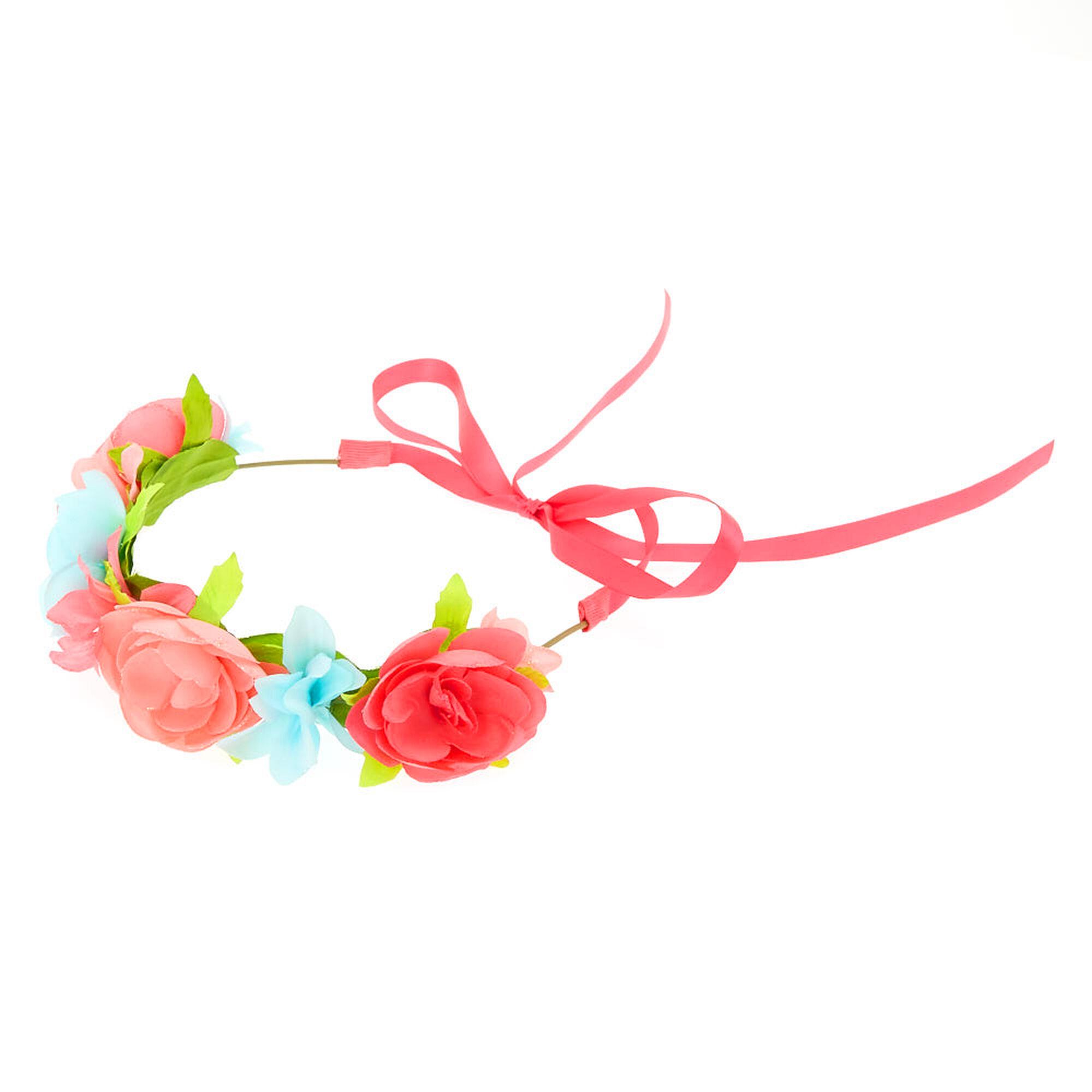 Kids pink blue flower crown headwrap claires kids pink amp blue flower crown headwrap izmirmasajfo