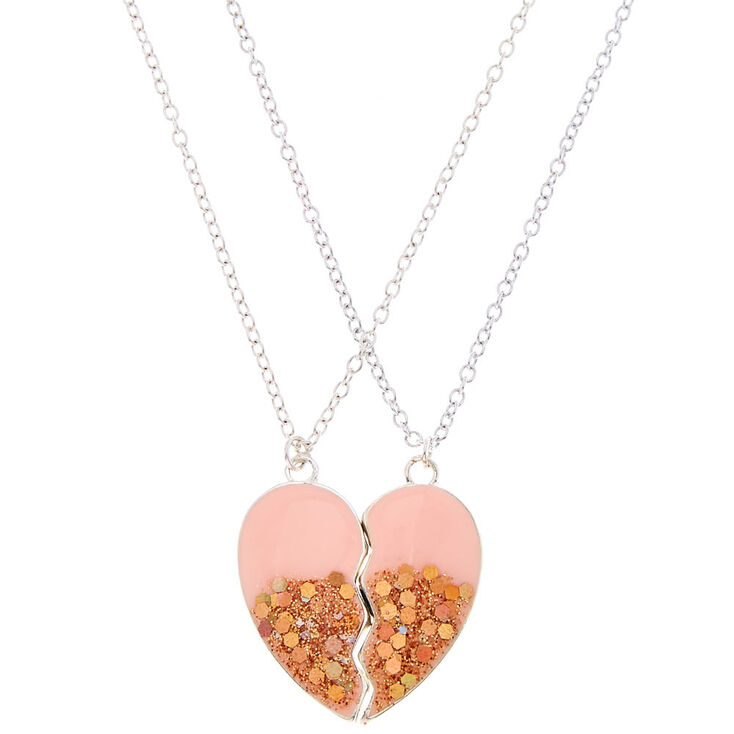 Best Friends Glitter Heart Necklaces,