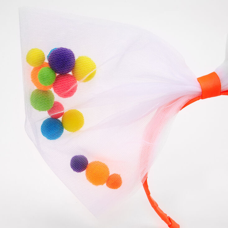 Giant Pom Pom Filled Tulle Bow Headband,