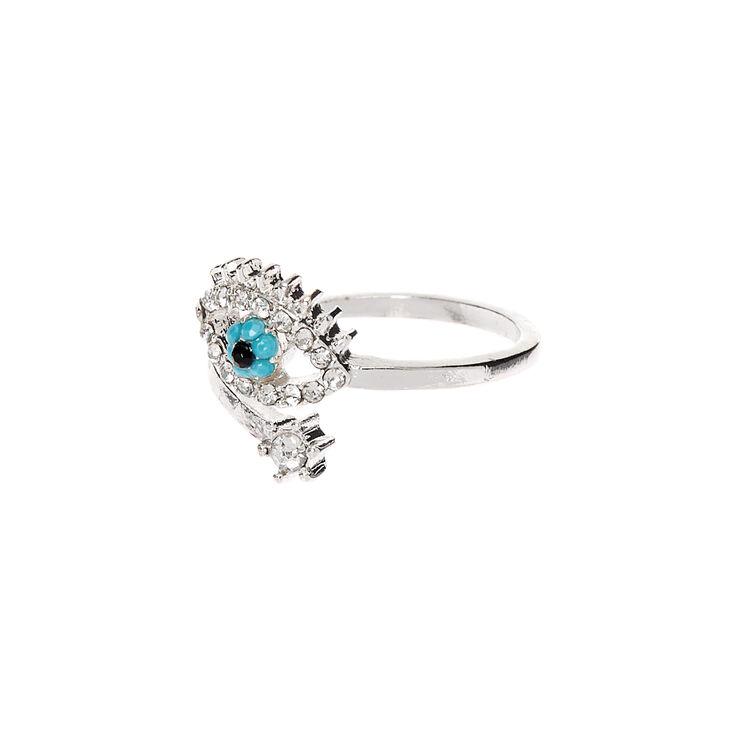 Silver Evil Eye Cuff Embellished Ring,