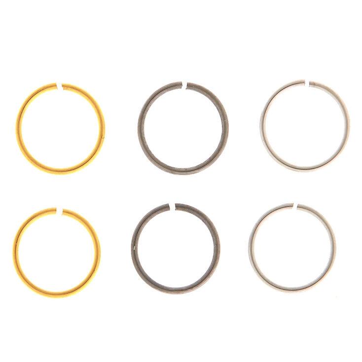 Mixed Metal 20G Solid Nose Hoop Rings - 6 Pack,