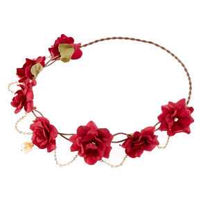 Gold Chain Flower Crown Headwrap - Burgundy,