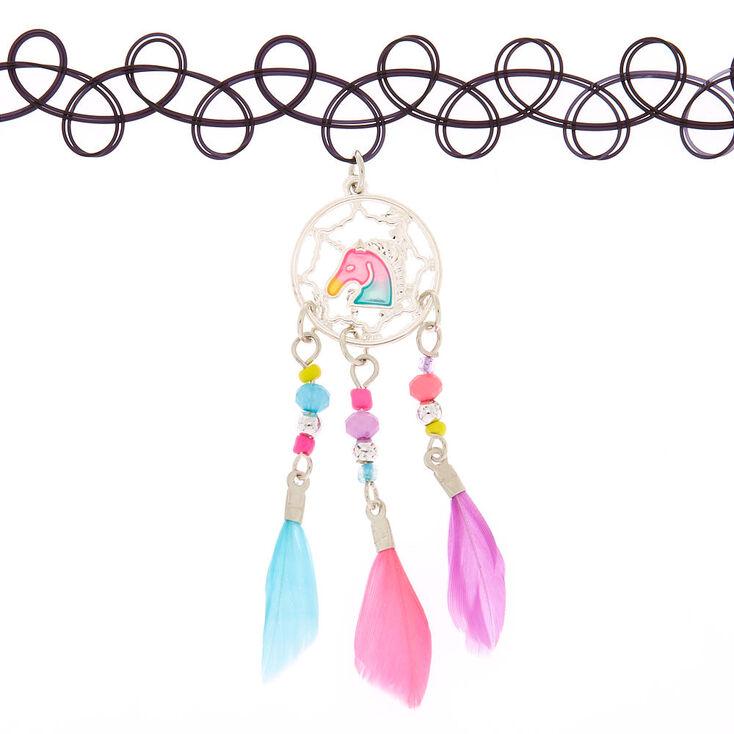 Unicorn Dreamcatcher Tattoo Choker Necklace,