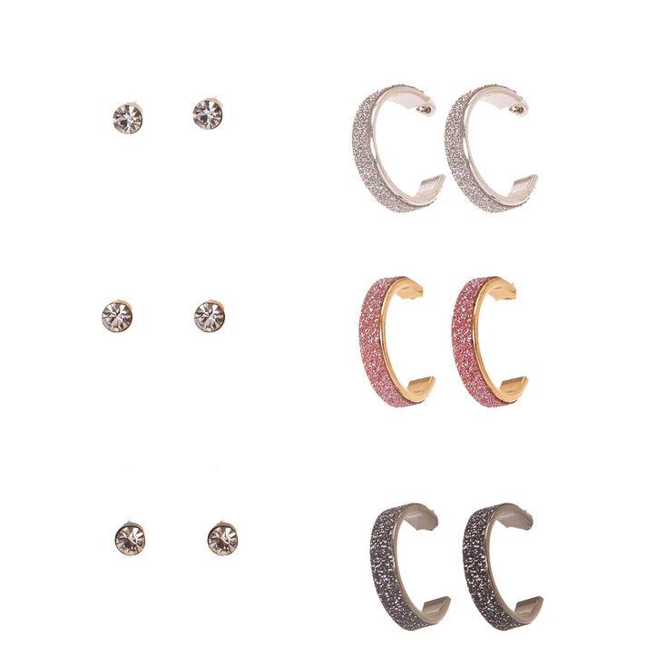 Glittery Mixed Metal Hoop & Faux Crystal Stud Earrings - 6 Pack,