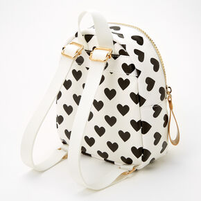 Claire's Club Heart Print Mini Backpack -White,
