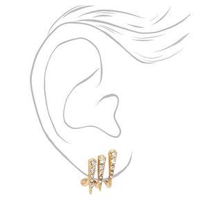 Clous d'oreilles strass triple dague - Couleur dorée,
