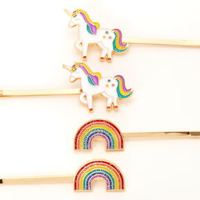 Claire's Club Gold Rainbow Unicorn Hair Pins - 4 Pack,
