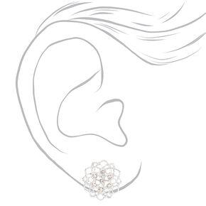 Clous d'oreilles à clip à fleurs en fil métallique ornementé couleur argentée,