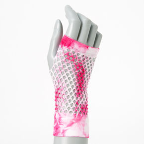Pink and White Tie-Dye Fishnet Gloves,