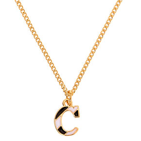 Gold Striped Initial Pendant Necklace - C,
