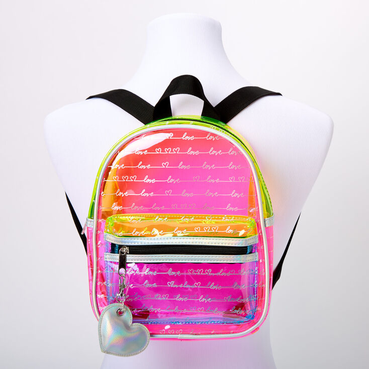Love Script colour Block Transparent Small Backpack,