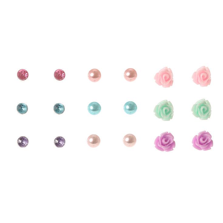 Pastel Carved Rose, Pearl, & Crystal Earrings,