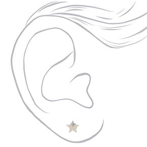 Sterling Silver Crystal Star Earrings,