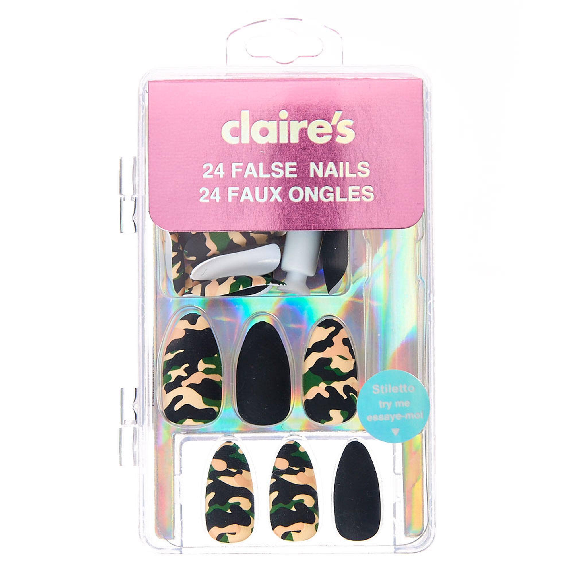faux ongles stiletto mats motif camouflage claire 39 s fr. Black Bedroom Furniture Sets. Home Design Ideas