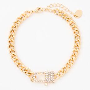 Gold Embellished Lock Chain Anklet,