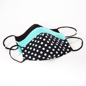 3 Pack Cotton Black and Mint Polka Dot Face Masks – Child Medium/Large,
