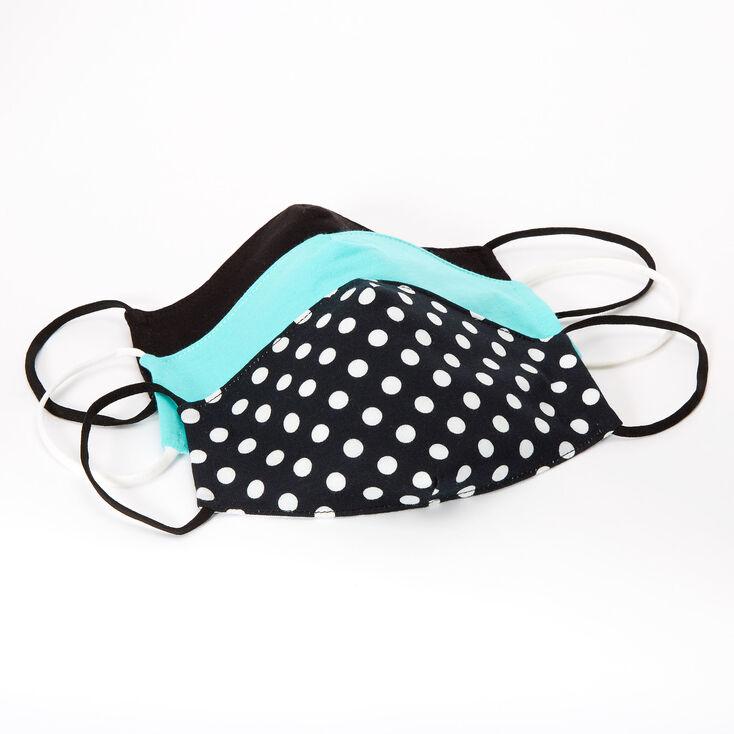 3 Pack Cotton Black and Mint Polka Dot Face Masks – Child Medium/Large,