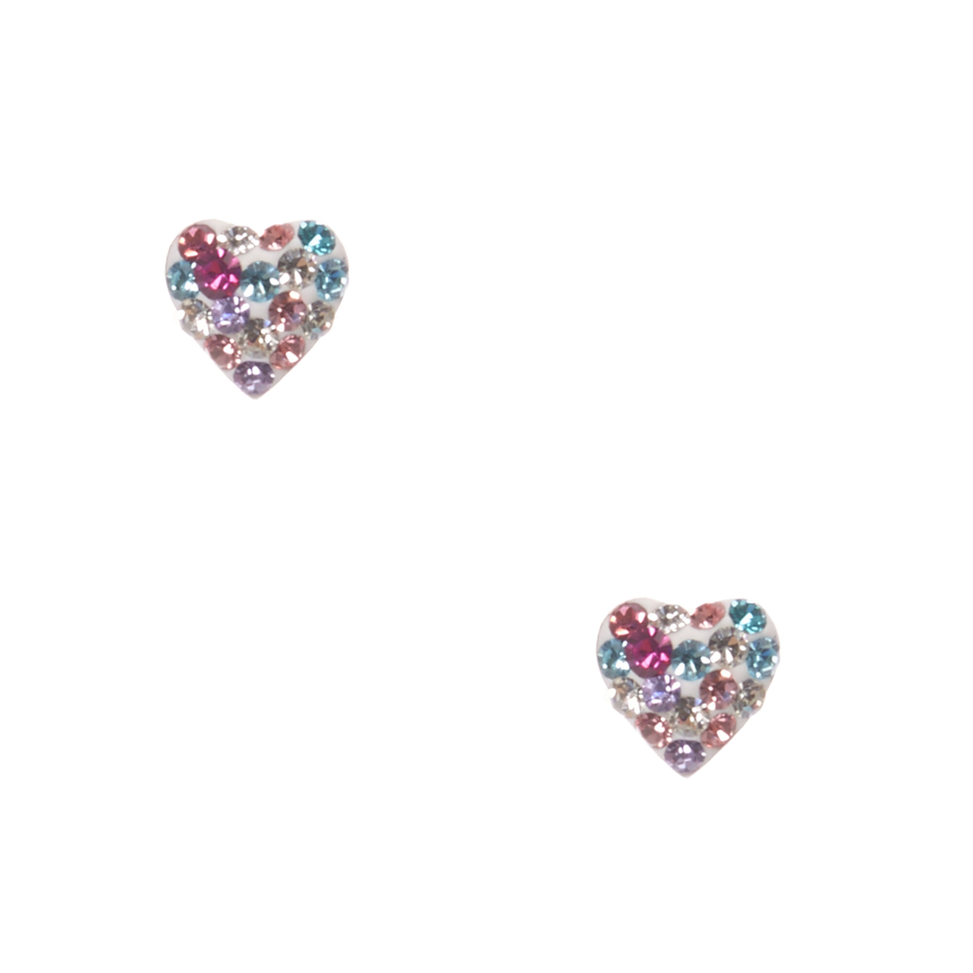Kids My First Earrings Pastel Crystal Heart Stud
