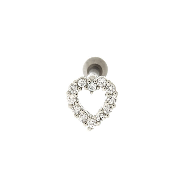 Silver Titanium 14G Embellished Heart Cartilage Earring,