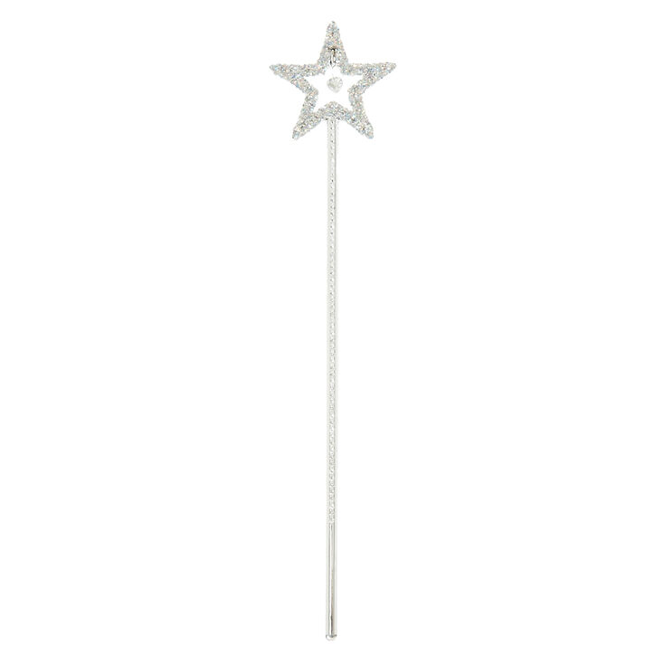 Claire's Club Glitter Star Wand - Silver,
