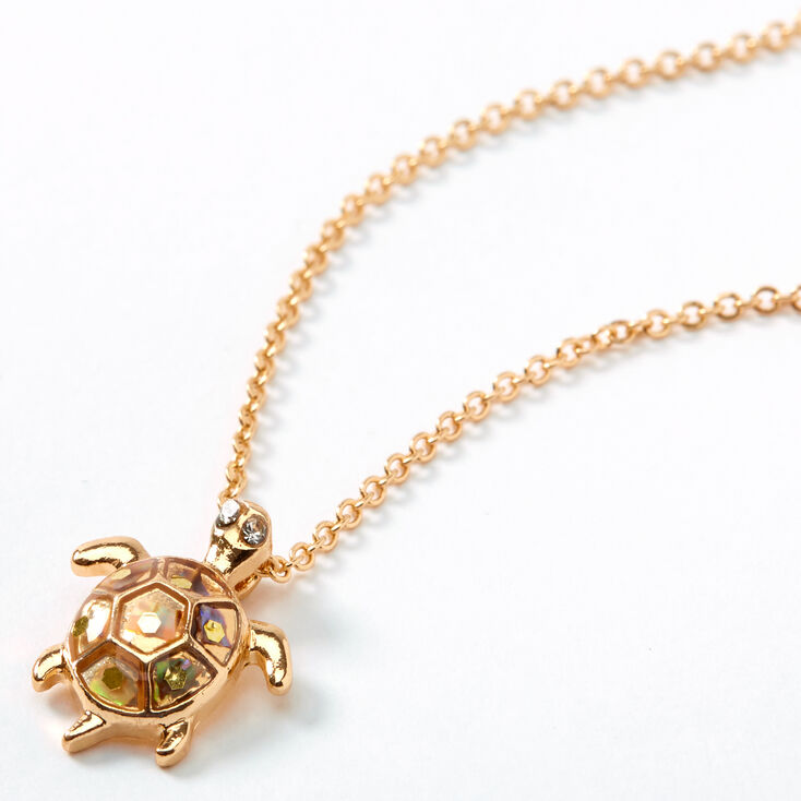 Gold Turtle Pendant Necklace,