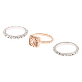 Mixed Metal Cubic Zirconia Rings - 3 Pack,