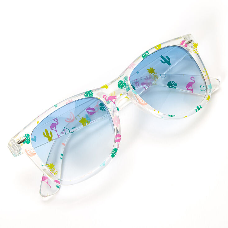 Retro Transparent Tropical Icon Sunglasses - Clear,