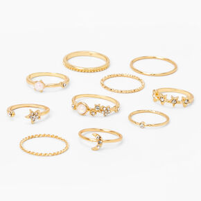 Gold Embellished Crystal & Pearl Star Rings - 10 Pack,