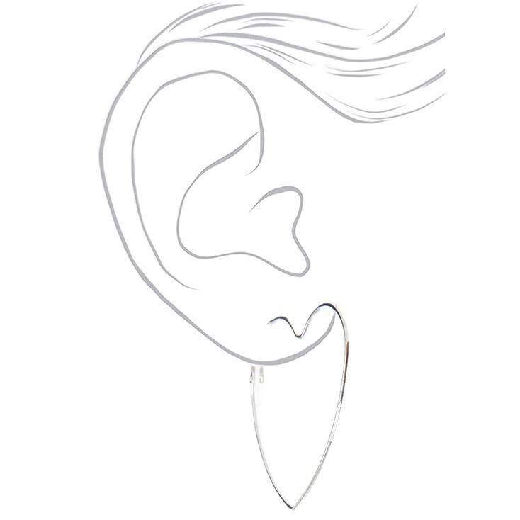 Red, Black, Silver Graduated Heart Hoop Earrings - 3 Pack,