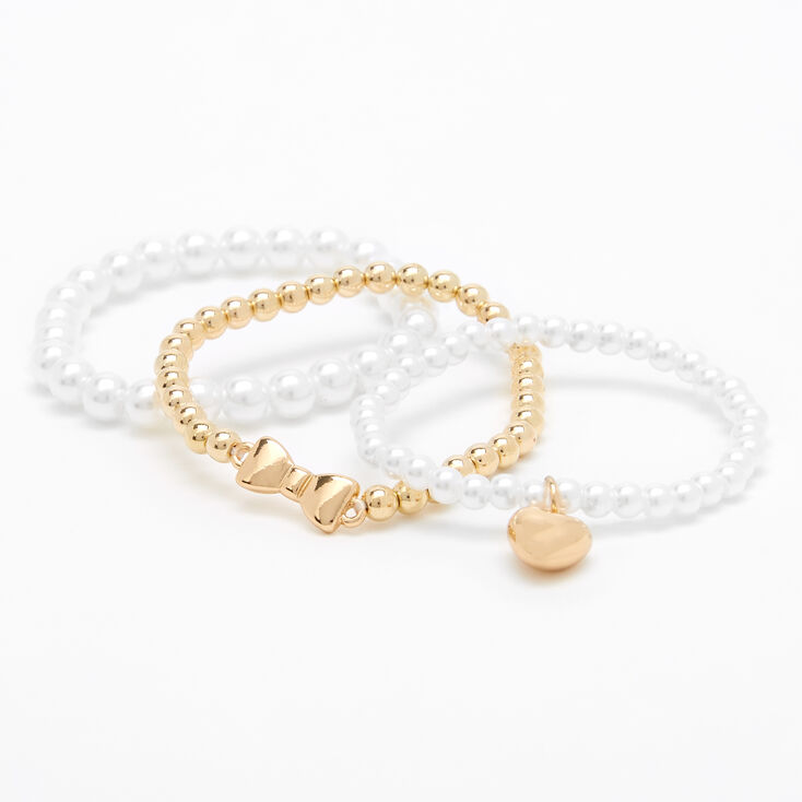 Claire's Club Gold Pearl Heart Stretch Bracelets - 3 Pack,