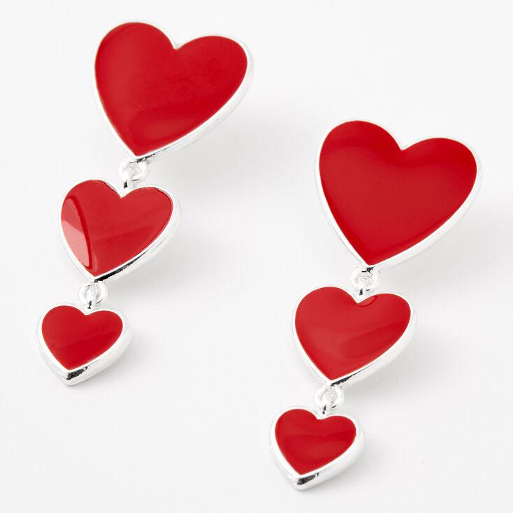 Silver Triple Hearts Enamel Drop Earrings - Red,