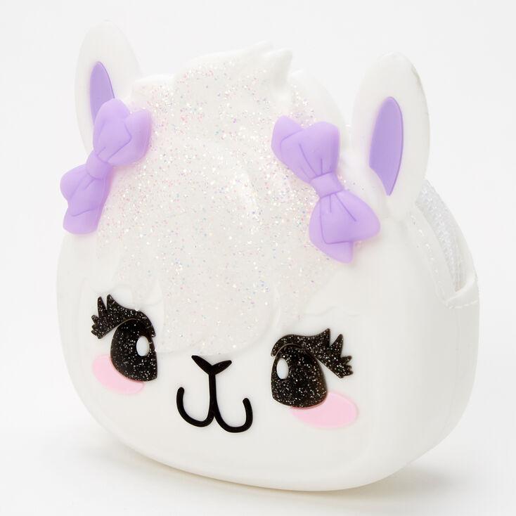 Glitter Llama Jelly Coin Purse - White,