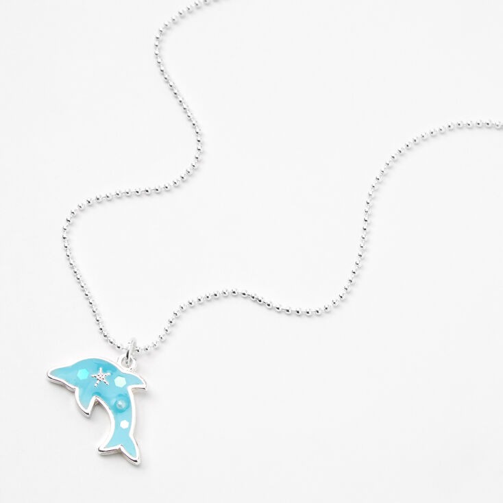 Silver Glow In The Dark Dolphin Pendant Necklace,