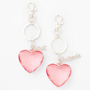 Best Friends Matching Pink Heart Keychains,