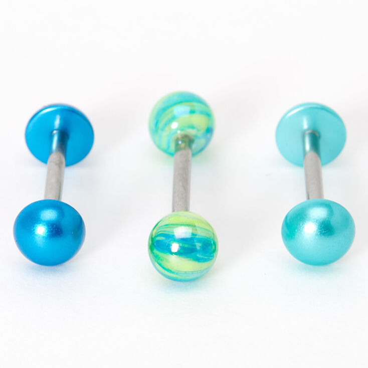 Blue & Green 14G Barbell Tongue Rings - 3 Pack,